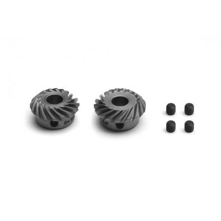 Spiral tooth bevel gears 17 t. Ø 5 mm + 16 t. Ø 5 mm